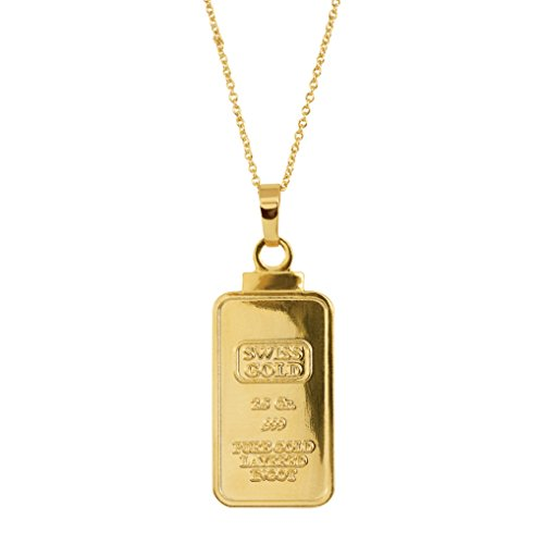 - American Coin Treasures 2.5 Gram Swiss Ingot Replica Coin Pendant Layered in 24KT Gold
