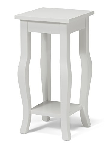 "Kate and Laurel Lillian Wood Pedestal End Table Curved Legs with Shelf, 12"" x 12"" x 24"", True White"