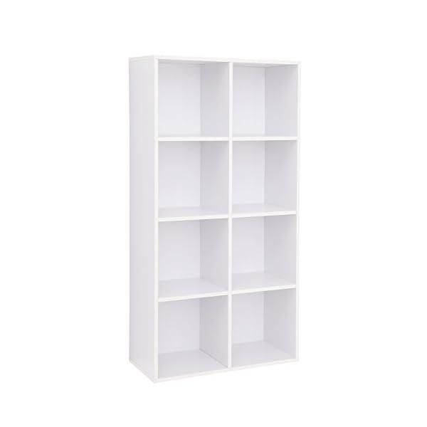 VASAGLE Bibliothèque à 8 casiers en Bois Étagère de Rangement Armoire Maison Bureau Couleur Blanche LBC24WT
