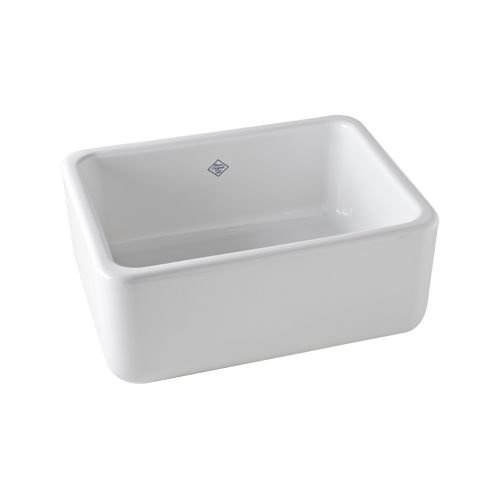 Rohl RC2418WH 24-Inch by 18-Inch by 10-Inch Single Bowl Shaws Lancaster Apron Front Fireclay Kitchen Sink, White