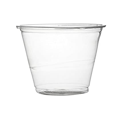 Image of Cups Fineline Super Sips 310992 PET Squat Drinking/Dessert Cup, 9 oz, Clear