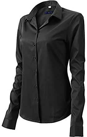 FLY HAWK Button Down Shirts for Women Formal Work Wear Simple Black Shirts Size 10