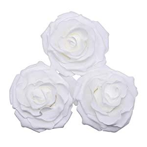 YONGSNOW 20 PCS Artificial Rose Flower Heads, 10cm White Foam Roses Head DIY Wedding Bouquets Home Decorations 3