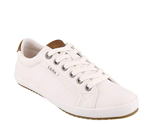 Taos Footwear Women's Star Burst White/Tan Sneaker 7.5 M US