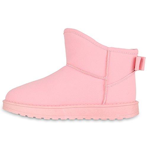 Stiefelparadies Kinder und Damen Stiefeletten Warm Gefütterte Schlupfstiefel Profil Schuhe Flandell Rosa Schleifen