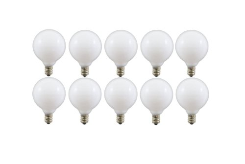 40-watt G16.5 Decorative Globe E12 Candelabra Base Light Bulbs, White, 10-Pack