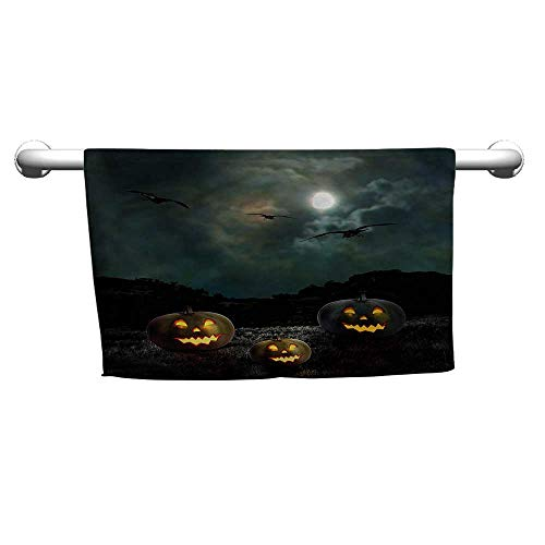 flybeek Premium Halloween,Yard Old House at Night,Hooded Towel