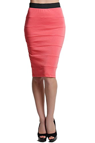 TheMogan Women's Bandage Stretch Knit Play to Work Pencil Skirt Coral L