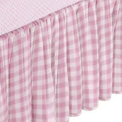 Babydoll Portable Crib Gingham Dust Ruffles, Pink