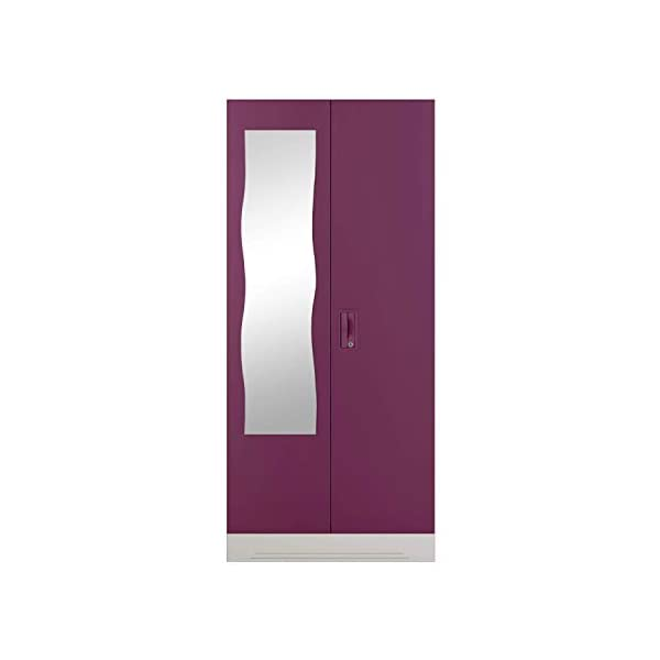 GODREJ INTERIO Slimline 2 Door Steel Almirah, Mirror in Purple,Textured Finish 2021 July Dimensions W x H x D (cm): 90 x 195 x 50.7 / Primary Material: Mild Steel / Delivery Condition :Knock Down / Free Assembly Provided Sleek Design:The furniture with which you furnish your home reflects your style and sensibilities. The sleek Slimline Wardrobe adds style points to your bedroom. Durable CRCA Steel Construct :CRCA Steel has stood the test of time and durability. This is why the Slimline Wardrobe excels in both, giving a piece that is strong and long-lasting.