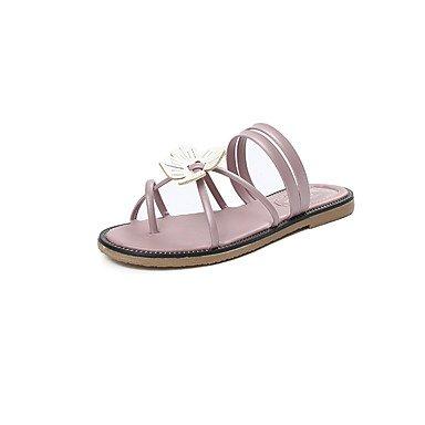 Sandalias de verano PU Confort Casual talón plano Applique Blushing Pink