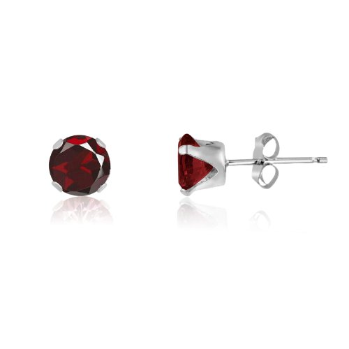 Round 5mm Sterling Silver Genuine Red Garnet Stud Earrings, Free Gift Box included (Gift Box Genuine Garnet Sterling)