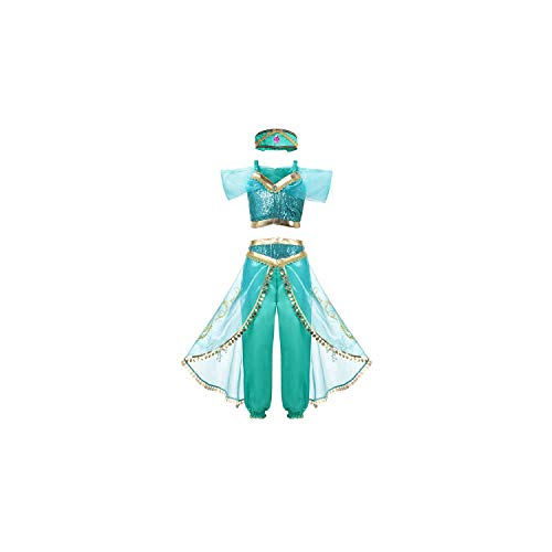 Girl Costume Arabian Princess Jasmine Dress Up Sleeveless Sequin Cosplay Clothes Kid Party Fantasy,Jasmine Dress Only,4T -
