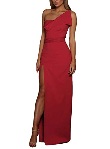 made2envy Asymmetric One Shoulder Floor Length Evening Gown (M, Red) LC610449RM