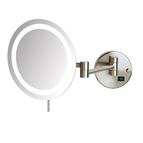Sharper Image JRT718NL Slimline LED Wall Mount 8X Magnifying Makeup Mirror, -