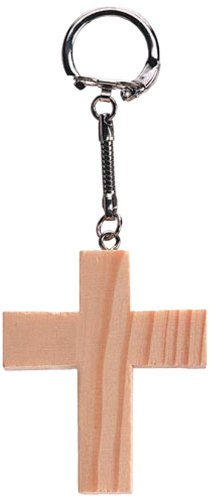 Darice 9162-67 Unfinished Natural Wood Craft Project Chunky Embellishment, Cross Key Chain