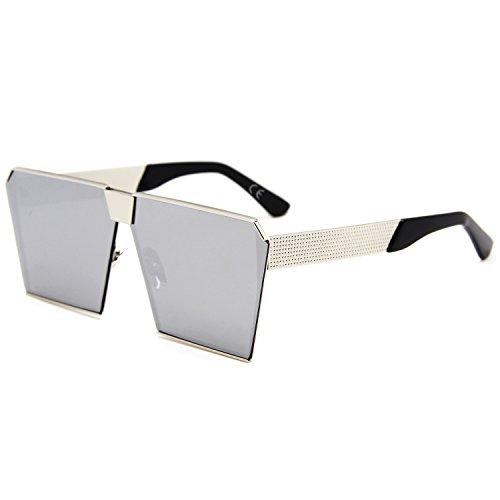 tamaño Gafas mujeres lente polarizada sol de las plata amztm efecto reflectante de cuadrado Espejo gran para q6PwYT