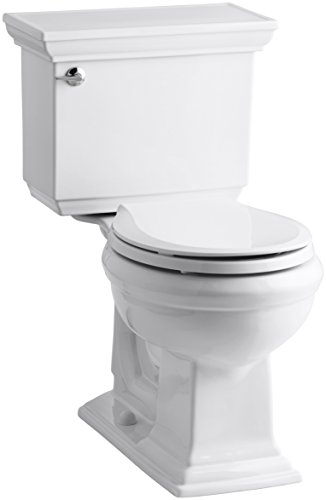 Height Two Piece Round Front (KOHLER K-3933-U-0 Memoirs Stately Comfort Height Two-Piece Round-Front 1.28 Gpf Toilet with Aquapiston Flush Technology, Insuliner Tank Liner and Left-Hand Trip Lever, White)