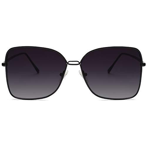 SOJOS Fashion Designer Square Sunglasses for Women Flat Mirrored Lens SJ1082 with Black Frame/Gradient Grey Lens