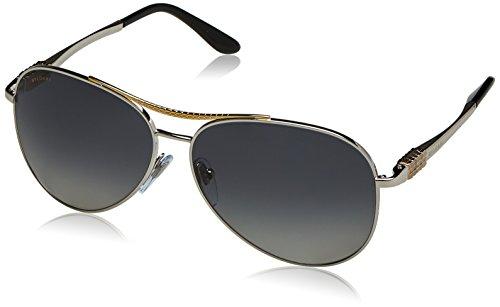 Bvlgari BV6075 BV/6075 2005/T3 Gold/Silver Polarized Aviator Sunglasses - Polarized Bvlgari Sunglasses