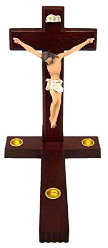 Needzo Religious Sick Call Crucifix Candle Holder, 7 1/2 Inch