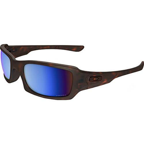 Oakley Men's Fives Squared Polarized Iridium Rectangular Sunglasses, Matte Tortoise, 54 - Fives Lenses Squared