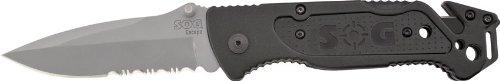SOG-Escape-Folding-Knife-FF24-CP-Built-in-Strap-Cutter-Glass-Breaker-Bead-Blasted-34-Blade-Aluminum-Handle