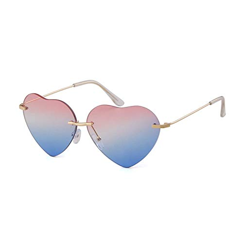 Thin Metal Frame Heart Shape Sunglasses Brand Designer Fashion Rimless Clear Ocean Lenses Sun Glasses (Pink Blue Metal frame, ()