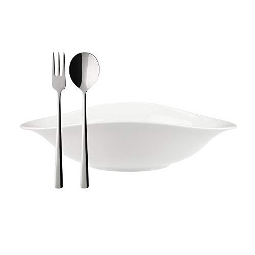 Villeroy & Boch 10-4257-8714 Set Vapiano, 6 Piezas, 2 escudillas ovaladas de Porcelana Premium, Cubiertos para Espagueti Daily Line, Acero Inoxidable, Apto para lavavajillas, Blanco, Porcelain, 18/11