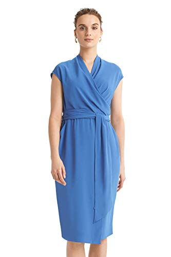 M.M.Lafleur Women's Hailey Short Sleeve Wrap Dress with Pockets Blue