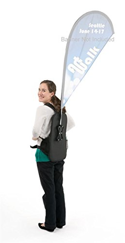 Walking Banner Stand, Backpack and Flagpole Kit for Teardrop Flag (Not Included), Adjustable Shoulder Straps and Front Buckle, Canvas Backpack (Black)