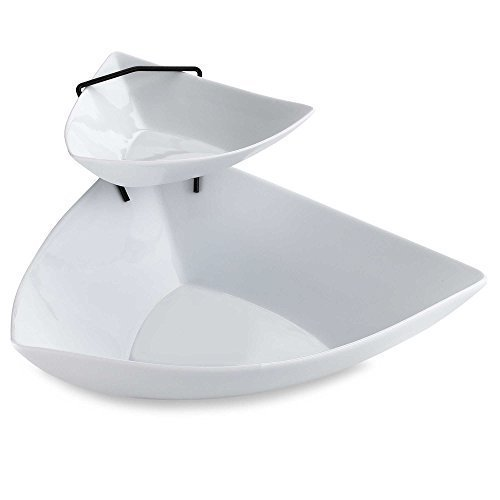 Sleek & Stylish 2-Tier Chip and Dip Serving Set in Stunning White by B. Smith - 2 Tier Chip