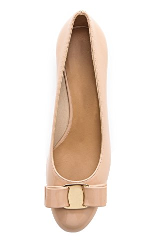 Toe Heels Women's Dress Block for Van Bowknot Patent Closed Nude Work Queen Pumps qtXwRxB4n
