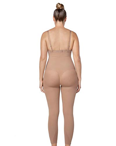 Leonisa Invisible Tummy Control Bodysuit Shapewear Leggings for Women with Leg Compression Shorts Beige