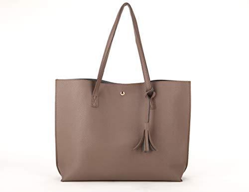 (Nodykka Women Tote Bags Top Handle Satchel Handbags PU Pebbled Leather Tassel Shoulder Purse)