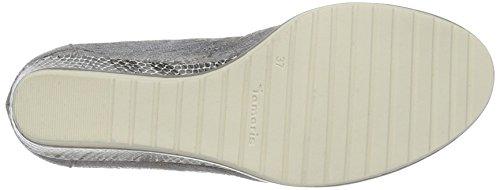 Tamaris 22461, Zapatos de Tacón para Mujer Plateado (STEEL STR.COMB 245)
