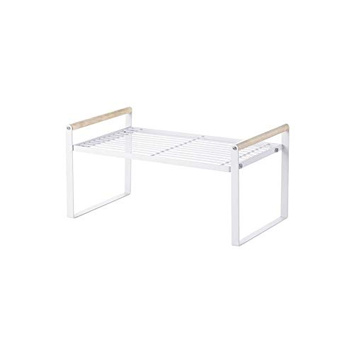 JOMAY Expandable Kitchen Cabinet Organizer Stackable Counter Shelf Countertop Shelf Seasoning Rack for Cups Dishes Bottles Plates