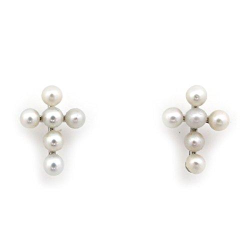 14k White Gold White Round Freshwater Cultured Pearl Cross Screwback - Pearl Cross White Earrings