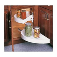 Half Moon Lazy Susans-Bottom Shelf Pull-Out Plastic Two Shelf Sets, Including Hardware by KV (Real Solutions)