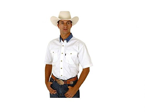 Roper Men's White Twill With Denim Collar Western Shirt White Large