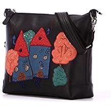 Alba Soboni Designed Women's Black PU Leather Embroidered Zip Medium Crossbody Bag