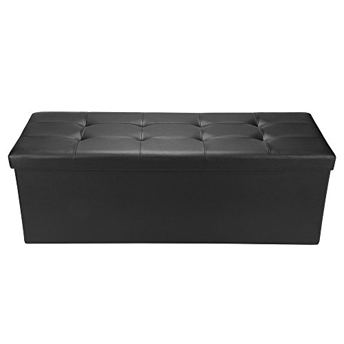 Homegear 43.3 Folding Faux Leather Storage Ottoman Footstool Bench Black