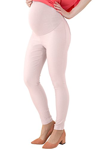 Sweet Mommy Stretchy Skinny Leg Maternity Colored Pants LightPink, L