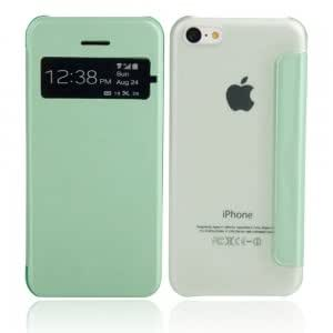 Frosted Transparent Protective PC Case with Hole for iPhone 5C Green