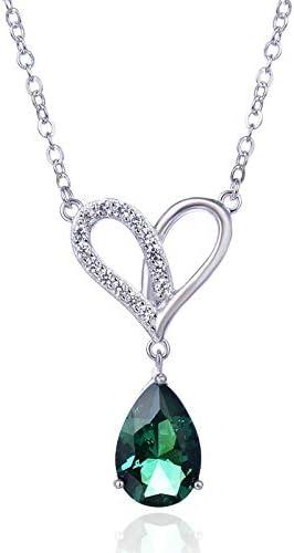 HWADMW Amor con Incrustaciones de Piedra s925 Collar de Plata esterlina Elegante Chica Moda pequeño Estilo fragante Super Hada Temperamento joyería