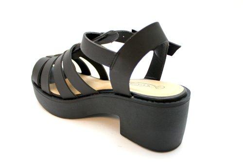 F10470A - Sandales compensées à lanières et bride arrière - femme - noir
