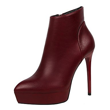 Ch & Tou Femmes-bottines-formelle-confortable-a Stiletto-faux Cuir-noir Gris Bourgogne, Bordeaux, Us7.5 / Eu38 / Uk5.5 / Cn38