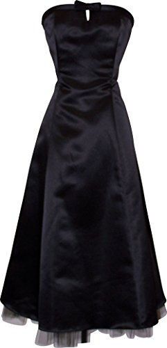 50's Strapless Satin Formal Bridesmaid Gown Holiday Prom Dress, Large, Black