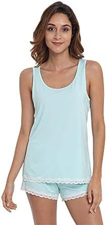 GYS Women's Bamboo Pajama Tank and Shorts Set, Aqua, Small