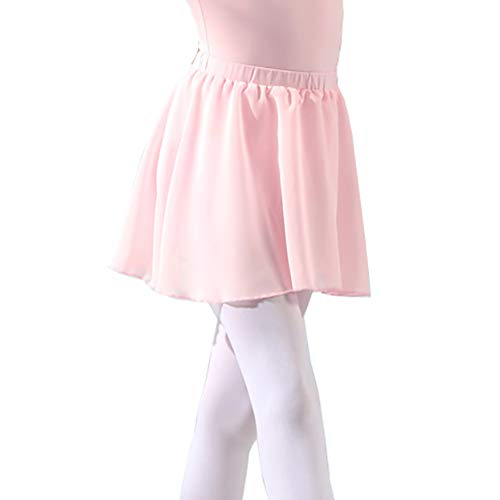DANCEYOU Girls#039 Ballet Dance Basic Wrap Pull on Skirt Chiffon Kids Skate DancewearPinkM